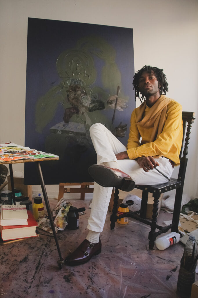 Mangovo's Portrait at his art studio in Lisbon.